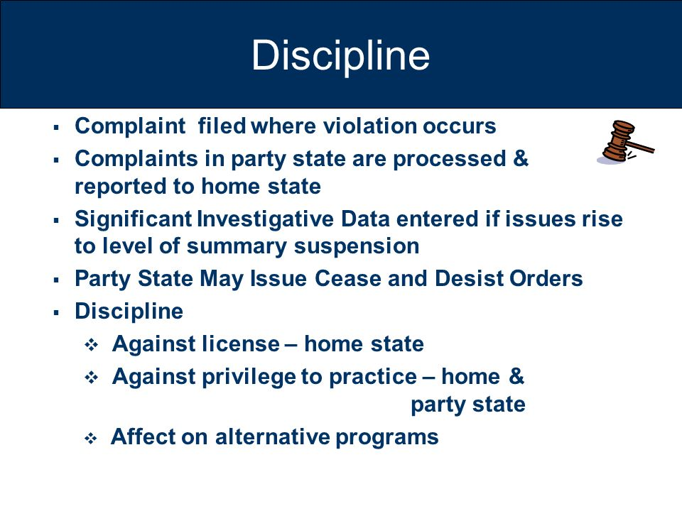 Discipline Complaint filed where violation occurs