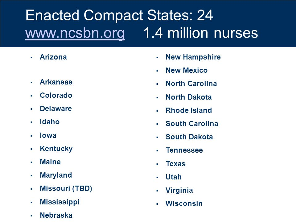 Enacted Compact States: 24 www.ncsbn.org 1.4 million nurses