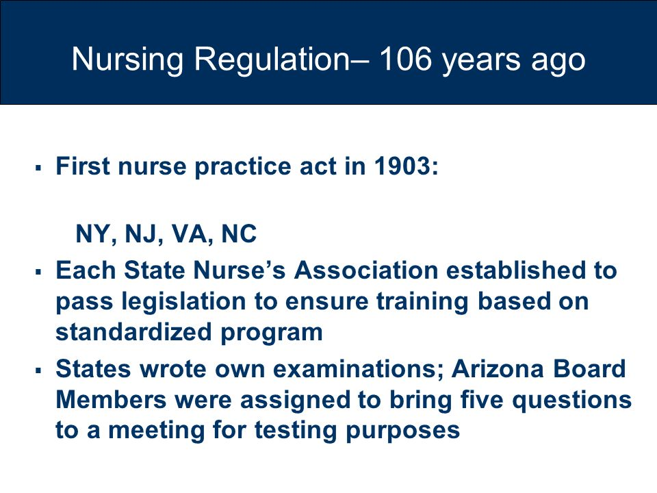 Nursing Regulation– 106 years ago
