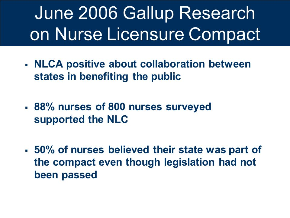 June 2006 Gallup Research on Nurse Licensure Compact