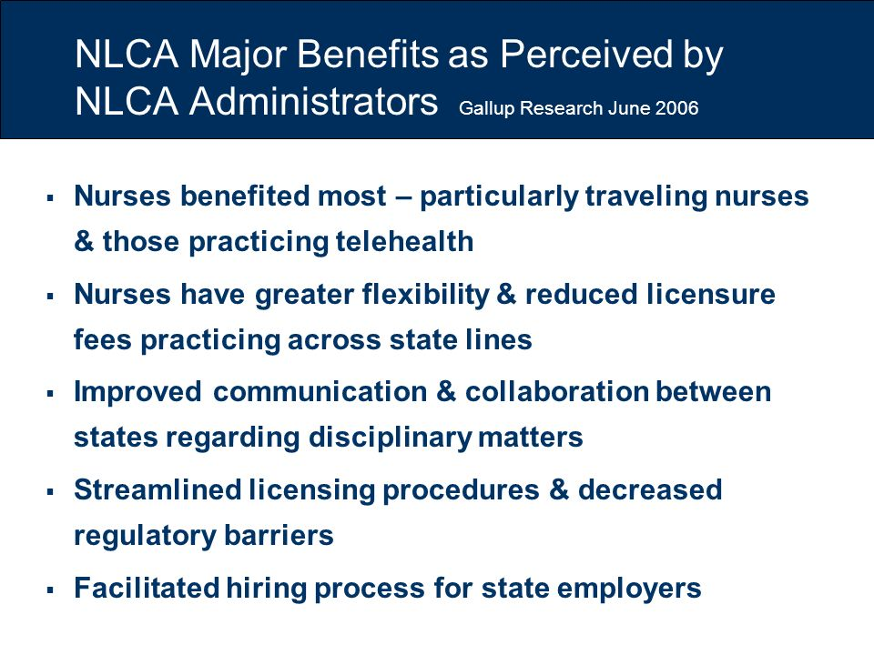 NLCA Major Benefits as Perceived by NLCA Administrators Gallup Research June 2006