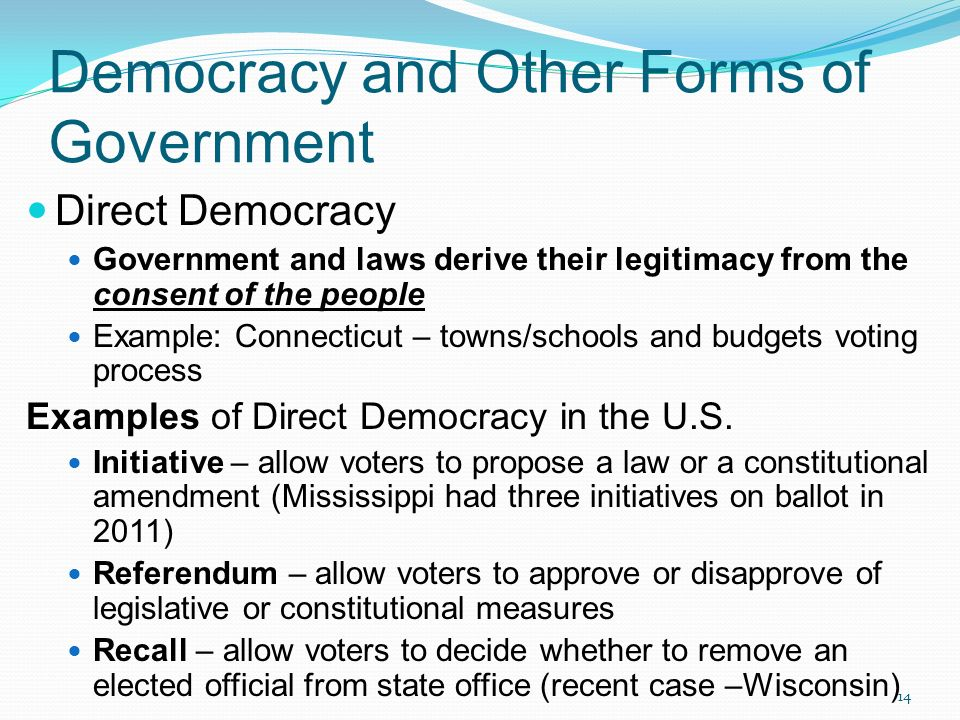 Chapter One: The Democratic Republic - ppt download Direct Democracy Examples