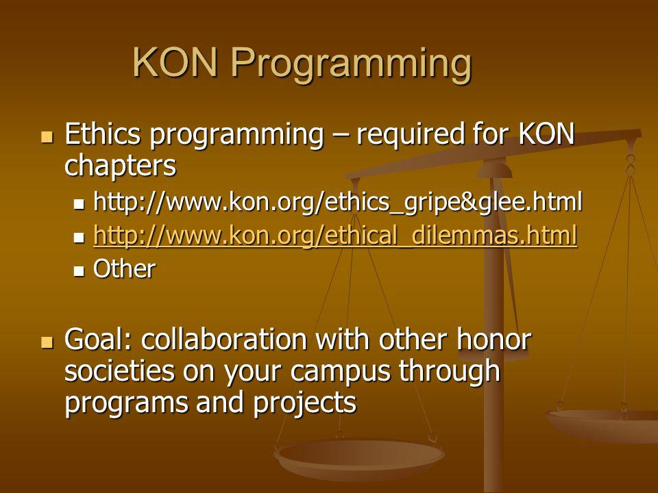 KON Programming Ethics programming – required for KON chapters