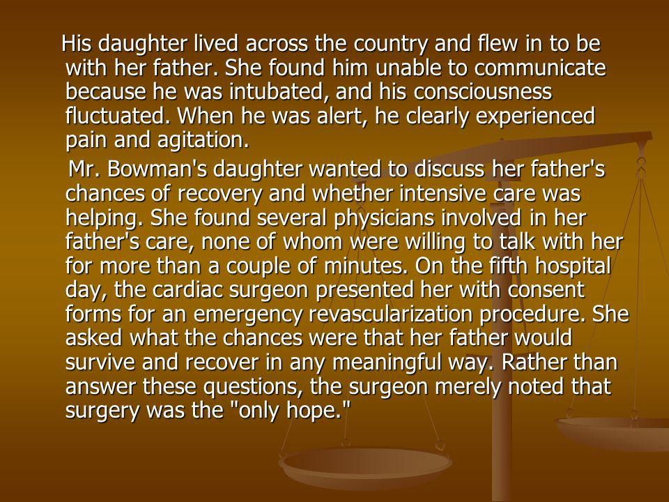 His daughter lived across the country and flew in to be with her father. She found him unable to communicate because he was intubated, and his consciousness fluctuated. When he was alert, he clearly experienced pain and agitation.