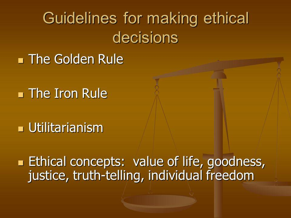 Guidelines for making ethical decisions