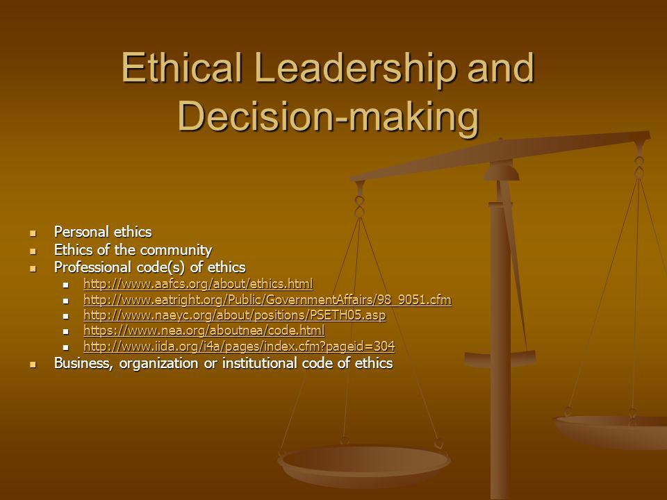 Ethical Leadership and Decision-making