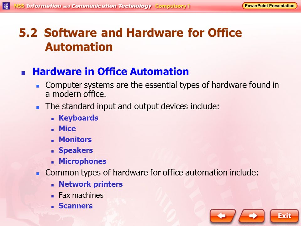 office automated system. 52 software and hardware for office automation automated system