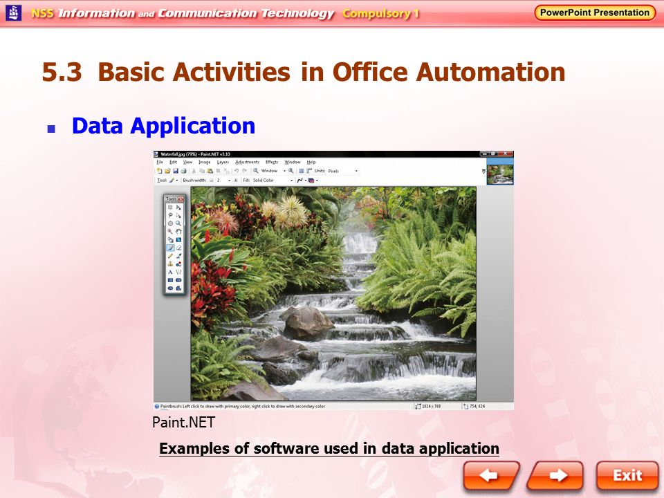 Examples of software used in data application