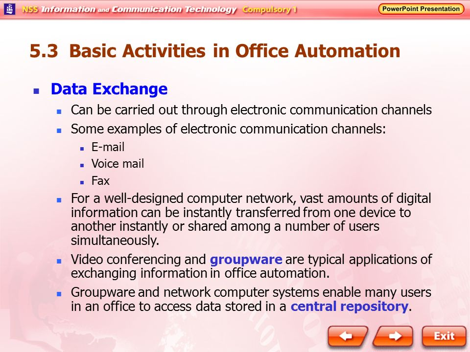 5.3 Basic Activities in Office Automation