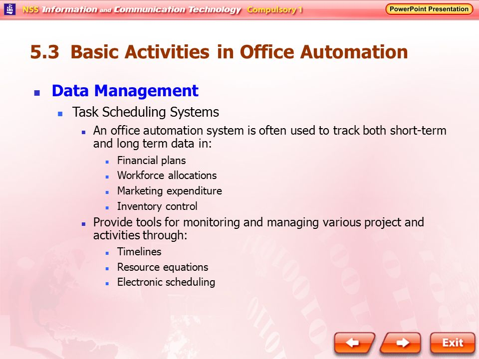 office automated system. 5.3 Basic Activities In Office Automation Automated System