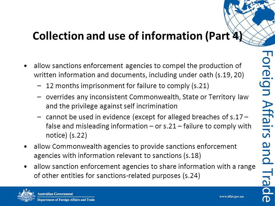 Collection and use of information (Part 4)