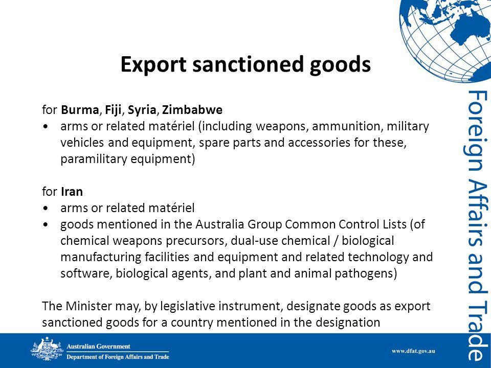 Export sanctioned goods