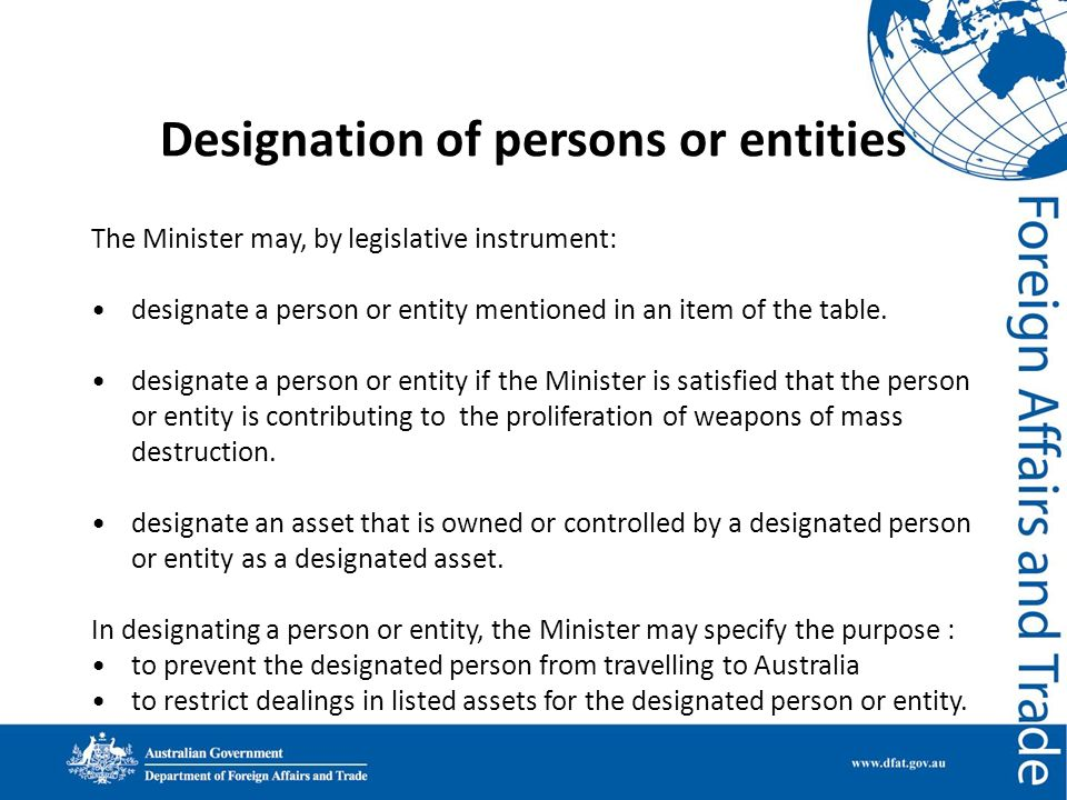 Designation of persons or entities
