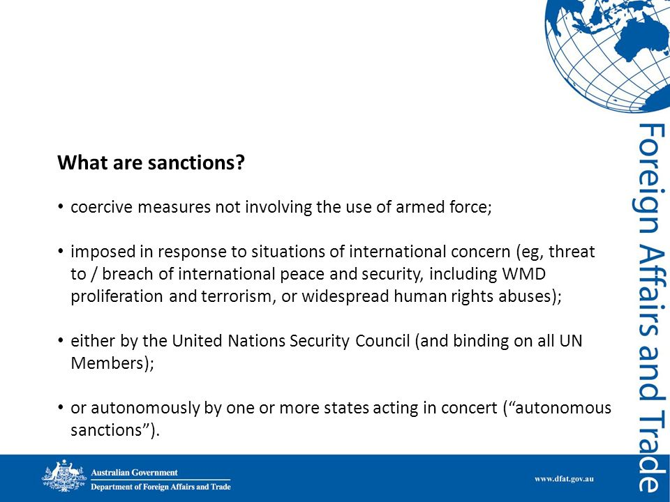 What are sanctions coercive measures not involving the use of armed force;