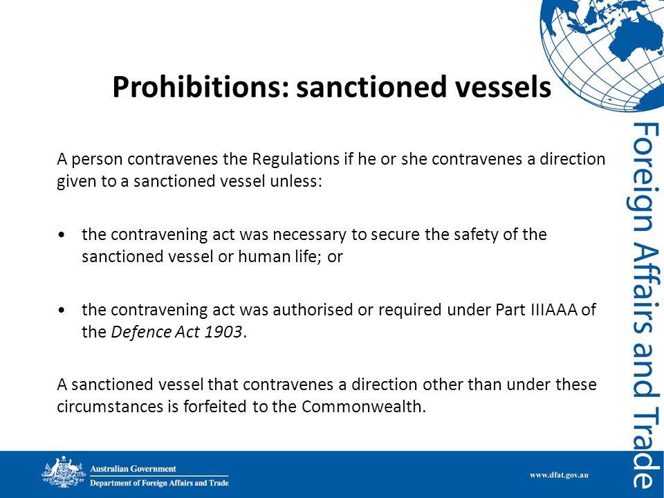 Prohibitions: sanctioned vessels