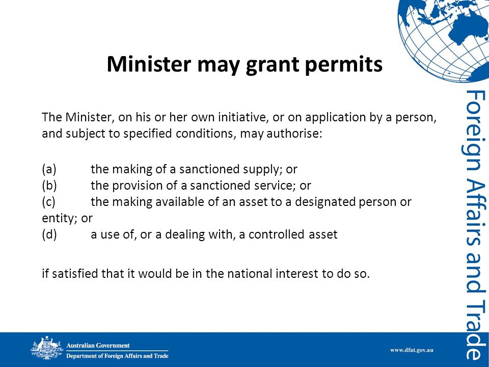 Minister may grant permits