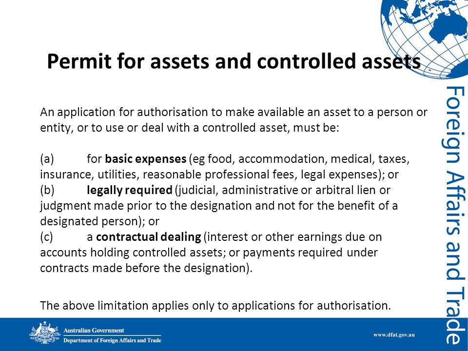 Permit for assets and controlled assets