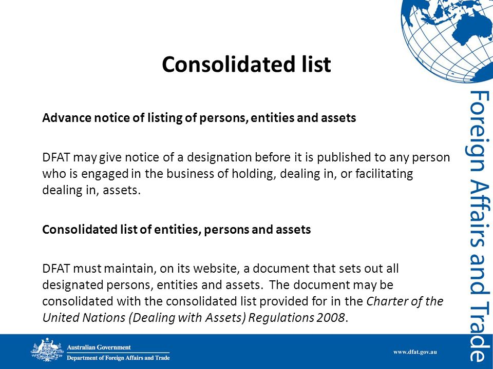 Consolidated list Advance notice of listing of persons, entities and assets.