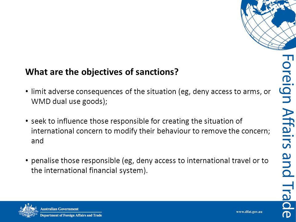 What are the objectives of sanctions