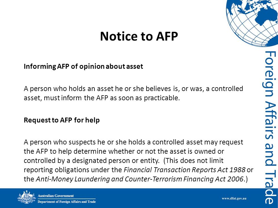 Notice to AFP
