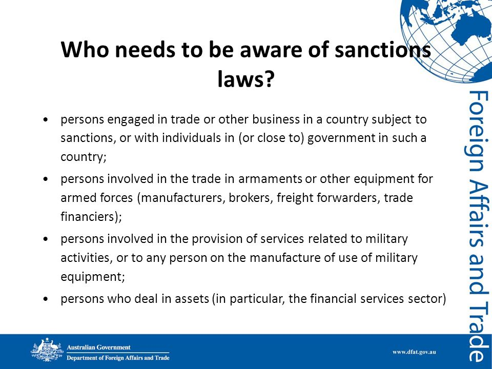 Who needs to be aware of sanctions laws