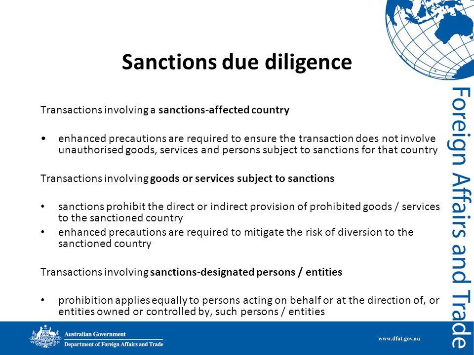 Sanctions due diligence
