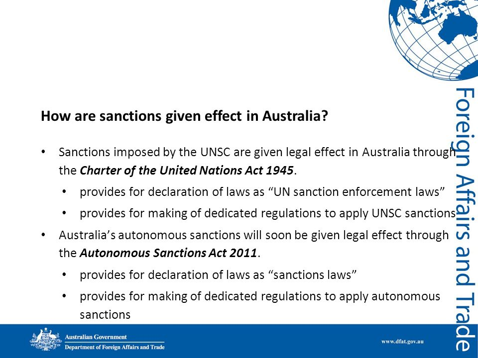 How are sanctions given effect in Australia