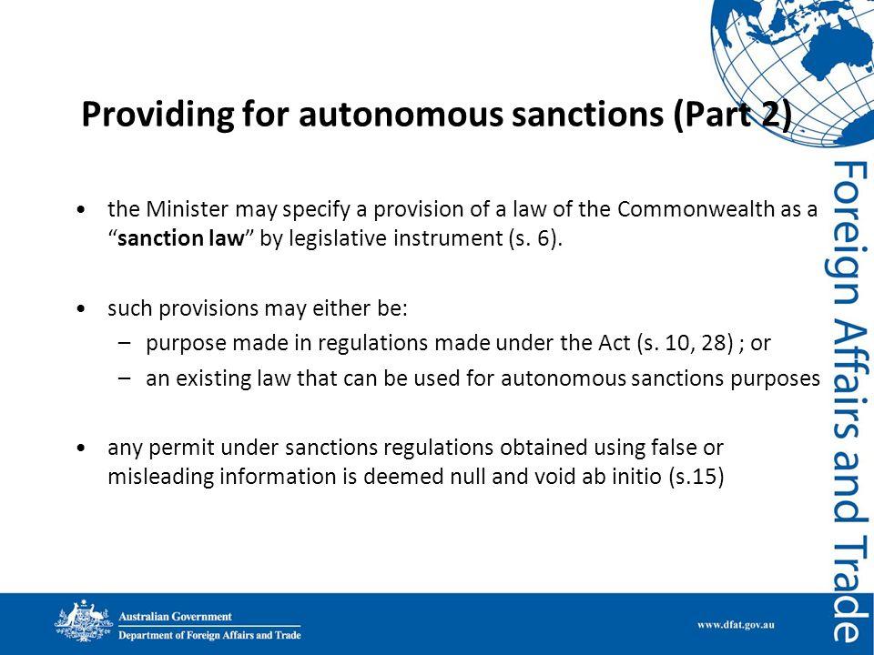 Providing for autonomous sanctions (Part 2)