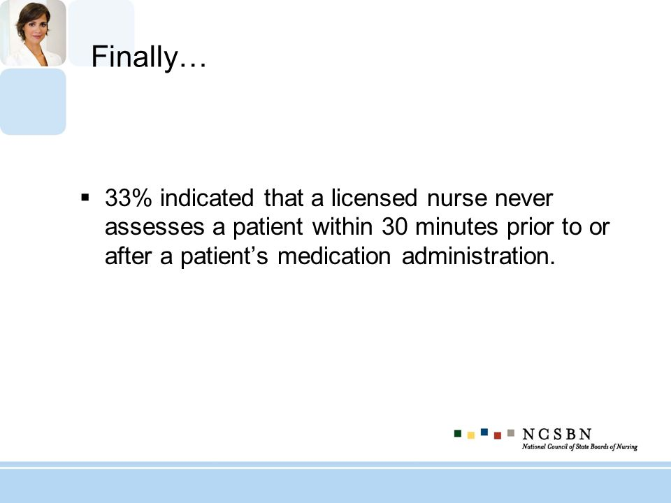 Finally… 33% indicated that a licensed nurse never assesses a patient within 30 minutes prior to or after a patient's medication administration.