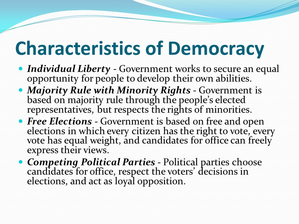 characteristics of democracy Democracy & governance africa characteristics of democracy the term democracy first appeared in ancient greek political and philosophical thought it is.