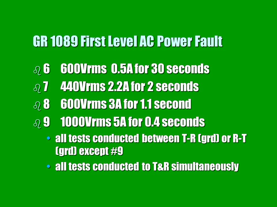 GR 1089 First Level AC Power Fault