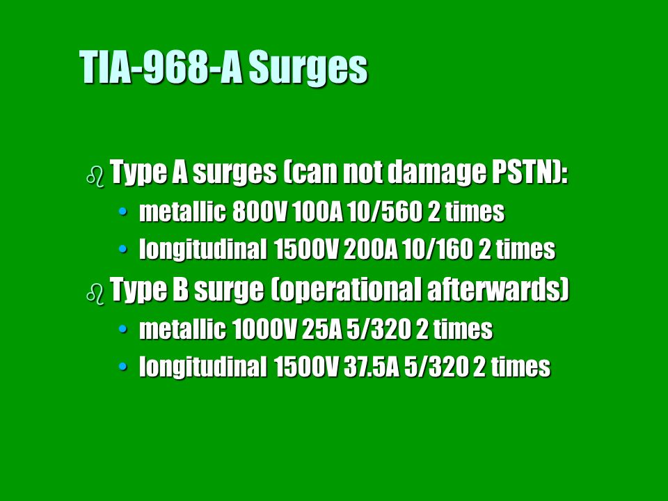 TIA-968-A Surges Type A surges (can not damage PSTN):