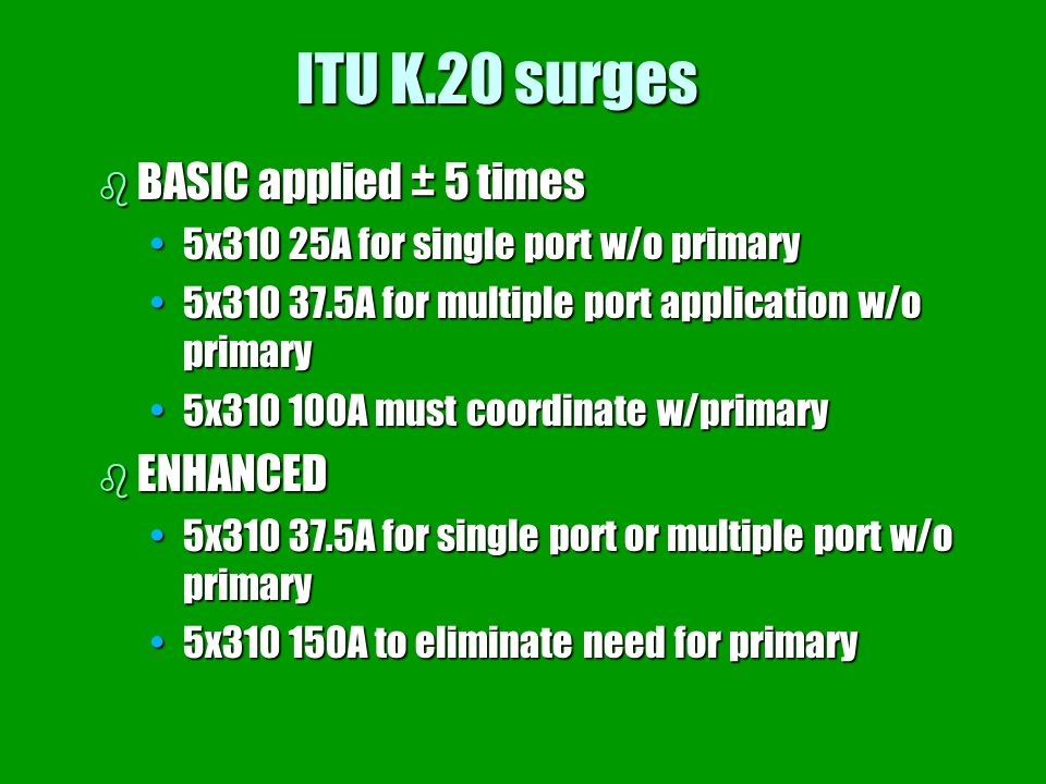 ITU K.20 surges BASIC applied ± 5 times ENHANCED
