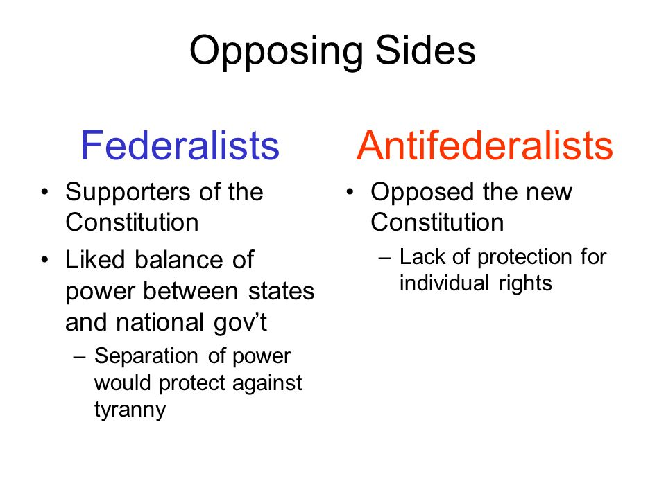Opposing Sides Federalists Antifederalists
