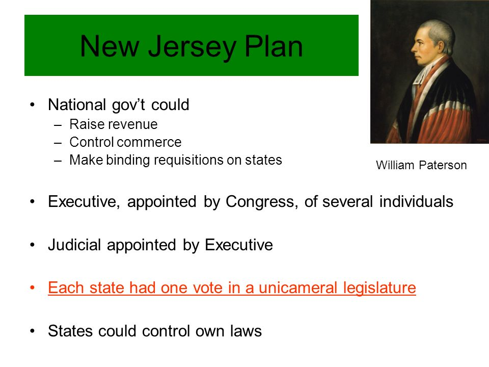 New Jersey Plan National gov't could