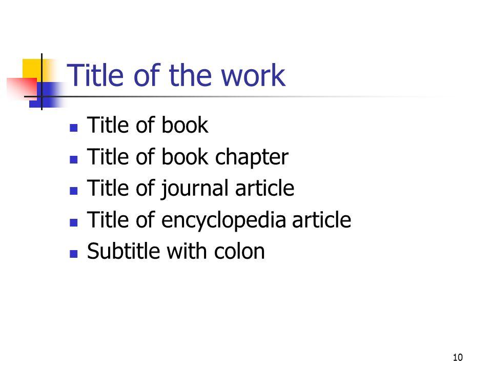 Title of the work Title of book Title of book chapter