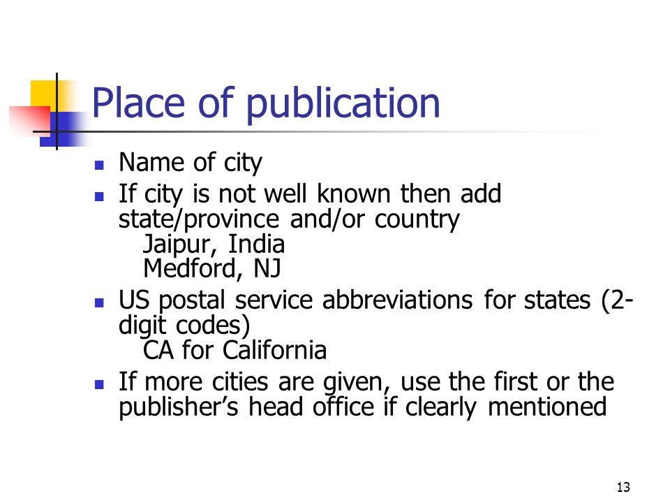 Place of publication Name of city