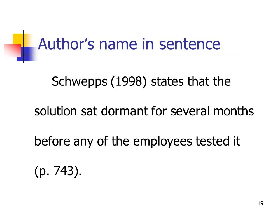 Author's name in sentence