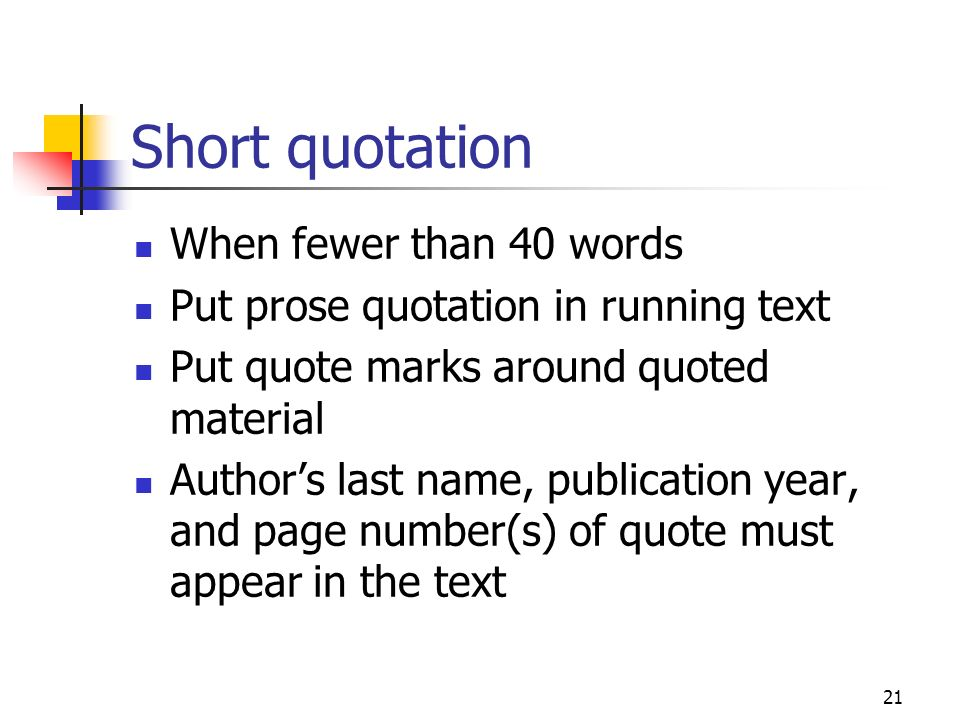 Short quotation When fewer than 40 words