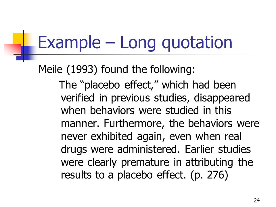 Example – Long quotation