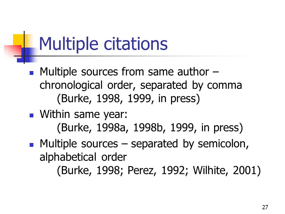 Multiple citations Multiple sources from same author – chronological order, separated by comma (Burke, 1998, 1999, in press)