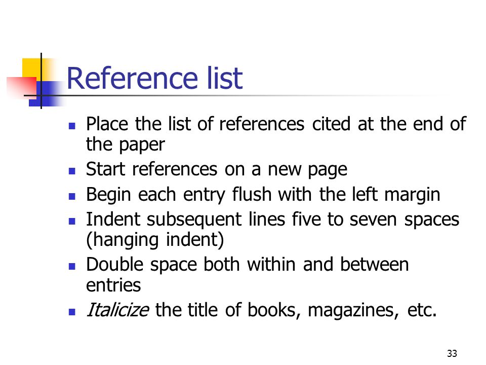 Reference list Place the list of references cited at the end of the paper. Start references on a new page.