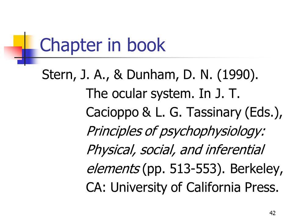 Chapter in book Stern, J. A., & Dunham, D. N. (1990).