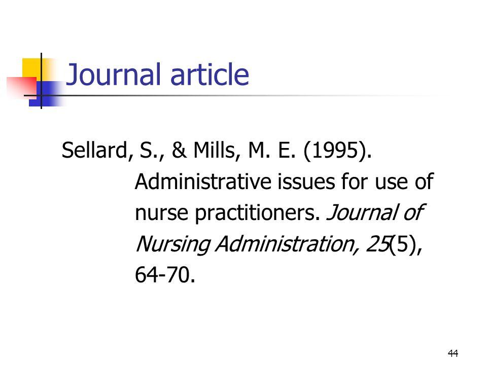 Journal article Sellard, S., & Mills, M. E. (1995).