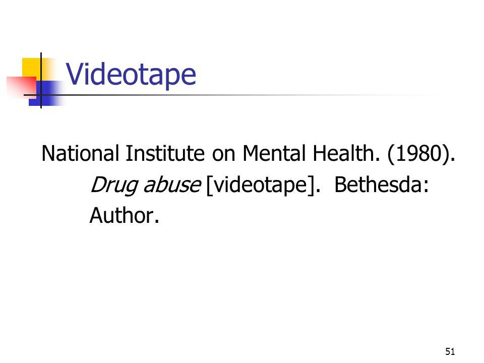 Videotape National Institute on Mental Health. (1980).