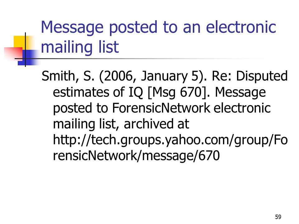 Message posted to an electronic mailing list