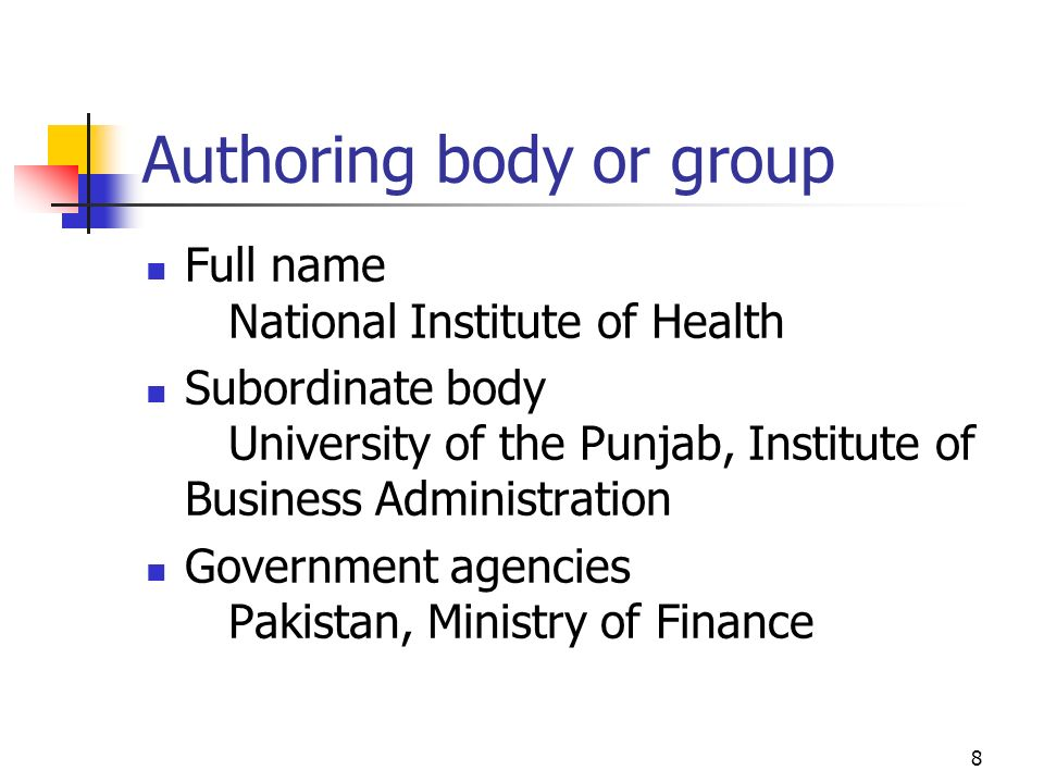 Authoring body or group