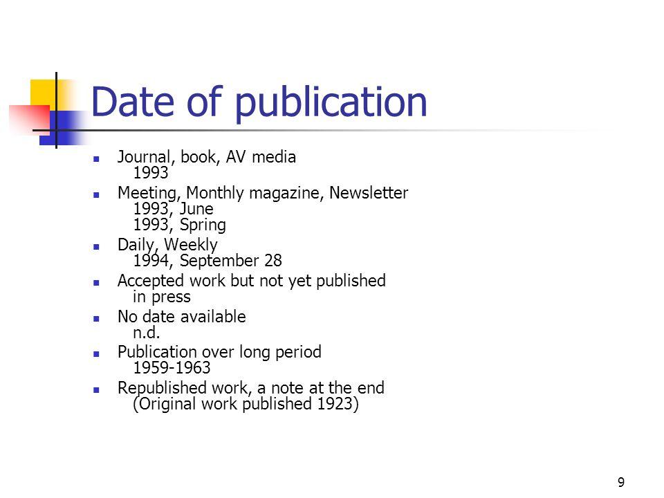 Date of publication Journal, book, AV media 1993