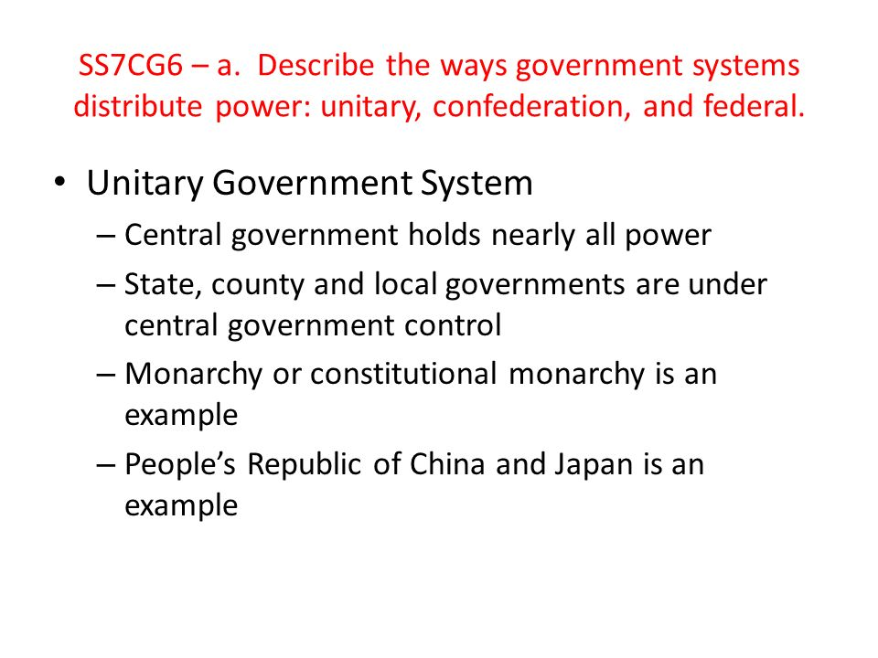 Unitary Government System