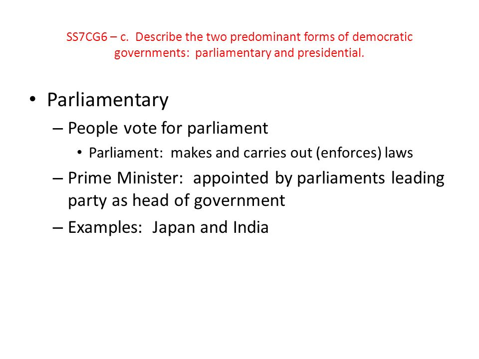 Parliamentary People vote for parliament